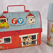 SOLD 1962 Fisher Price Lunchbox Thermos Little People Mini #549 Farm Barn