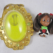 Rare Lois Lucky Locket Kiddle Doll Black AA Complete with Necklace