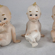 3 Vintage Lefton Japan Bisque Kewpie Doll Figurines