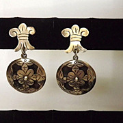 SALE Superb TAXCO sterling silver Fleur-de-lis/Lilly Flower Dangle Earrings