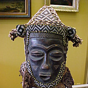 African Beaded Helmet Mask, Lele-Congo, Circa.1920-1940
