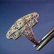 Edwardian Diamond Ring 14K Gold & Platinum C.1900-1910