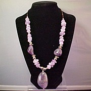 Navajo Necklace, Natural Amethyst, Sterling Native American