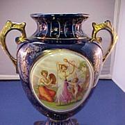 Cobalt Blue Hand Painted English Porcelain Vase, signed C. 1890