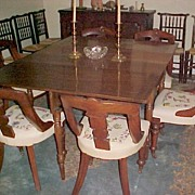 Set (6) Connecticut Walnut Dining Chairs Crewel seats C. 1830-40