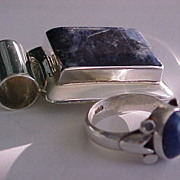 Estate Sterling Lapis Lazuli Pendant & Ring set