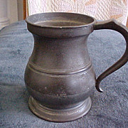 REDUCED English Pewter Quart Measure Tankard, James Yates 1825-50
