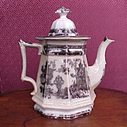 Antique English Staffordshire Coffee Pot Black Transferware 1834-59