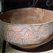 Large Bronze Age Herrapan Decorated Bowl 3000-2000B.C. Pakistan Colorful Polychrome Animals &