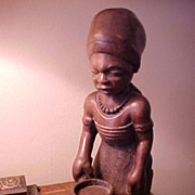 African Carved Ironwood Mother/Child Statue possibly Senegalese