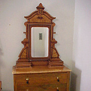 Chest of Drawers & Mirror Victorian 1850 Faux Painted