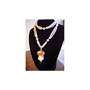 REDUCED Estate Necklace Rose Quartz Carnelian Garnet signed SJ Sterling Silver