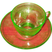 Fostoria Cup and Saucer set-green glass