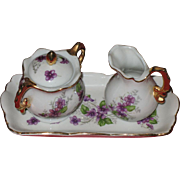 Miniature pitcher and creamer with tray/ violets