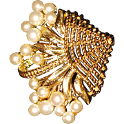 Brooch  Costume pearls in a basket   Trifari