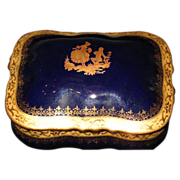 Cobalt blue Limoges dresser box  Gorgeous