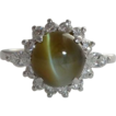 Exceptional 4.07 Carat Chrysoberyl & Diamond Ring in Platinum