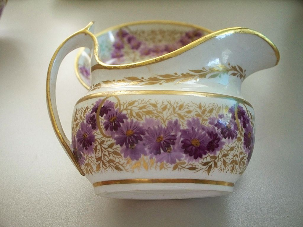 Antique Josiah Spode Tea Set in Lilac Flowers & Gilt circa 1800 from anti