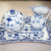Royal Copenhagen Full -Lace Tray, Sugar Bowl & Creamer ca. 1970 NEW