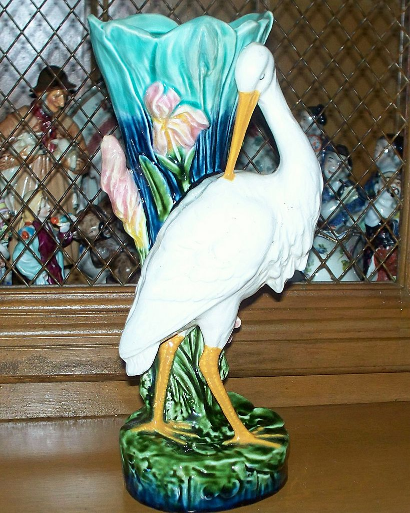 Antique Majolica Stand of Egret/Stork in Wetland circa 1910