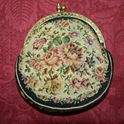 Antique  Macro Mini Petit-Point Needlepoint Purse  Austria