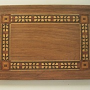 Inlaid Geometric Walnut/Mahogany Wood American Indian Arrow-Feathers Panel