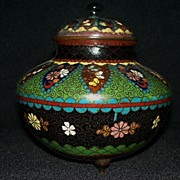 Large Japanese Cloisonne with Metal Powder Accents   circa 1900