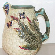 Antique American/English Majolica Pitcher 5 Butterflies & Fern Plants  c. 1880