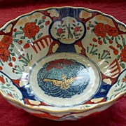 Japanese Imari Large Bowl with American Eagle in Center   Meiji Period