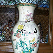 Satsuma Kinkozan Vase with Butterflies on Border  12 ""