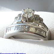 Lady's Engagement Ring & Wedding Band  Diamonds & Platinum  Settings