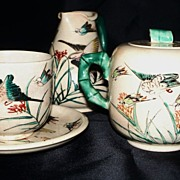 Satsuma;  Sugar Bowl, Pitcher & C  & S Wood Ducks & Swallow. ca.1920