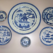 6 Chinese Canton Plates Bowls   10&quot;-3&quot;