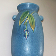 Antique Large Weller Cornish Sea Blue Art Pottery Vase Matt Finish 9 1/2&quot; High