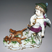 Rare Meissen Cupid with Hunting Dogs 19th century