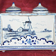 "Antique French Faience ""Rouen"" Tin Glaze Inkwell  19th century"