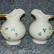 Pair of Irish Belleek Shamrock Cream Pitchers   never used guaranteed