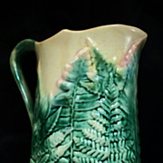 Antique Etruscan  Majolica &quot;Griffin, Smith &Hall&quot; GSH Fern Leaf Pitcher