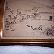 Engraving Lithograph by John Barker  &quot;The Farm&quot;  1929  Listed Artist