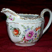 Dresden Creamer Fluted Jug Meissen Flowers     circa 1900  Perfect