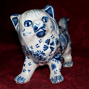 Large Antique Charming French Faience 'Desvres' Cat  circa 1910