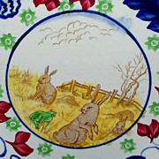 "Antique Staffordshire""Rabbitware"" Stick-Spatterware Plate 9.2"""