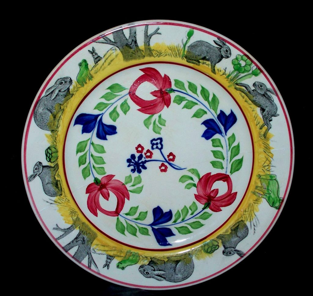 "Antique Staffordshire ""Rabbitware"" Stick-Spatterware Plate 9.2"" ca. 1850"