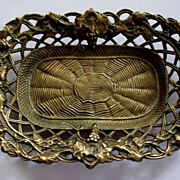 Antique  Brass Tray  Grapes Vines & Spider Web  circa 1895's