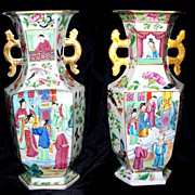 Pair of Antique Chinese Hexagon Daoguang  Vases   circa 1850
