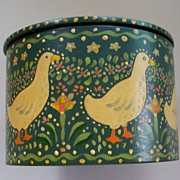 Lovely Folk Art  Hand-Painted Box  Ducks & Eggs
