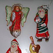 Vintage Christmas Crewel Ornaments  5 in all