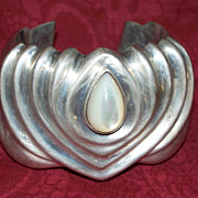 Vintage Sterling Silver Wide Cuff  'Heart' Bracelet with Stone