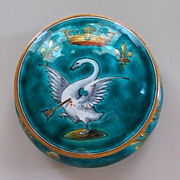 Antique French Faience  Ulysse Blois E. Balon Covered Dresser Jar 3&quot; h.