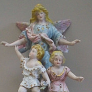 Dresden German Guarding Angel Watching over children porcelain figurine ca. 1900